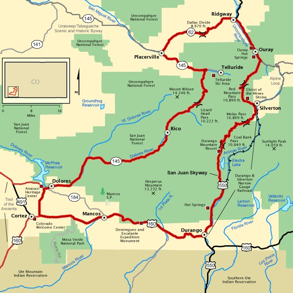 San Juan Skyway map