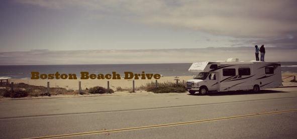 Motorhome drive on Boston beaches