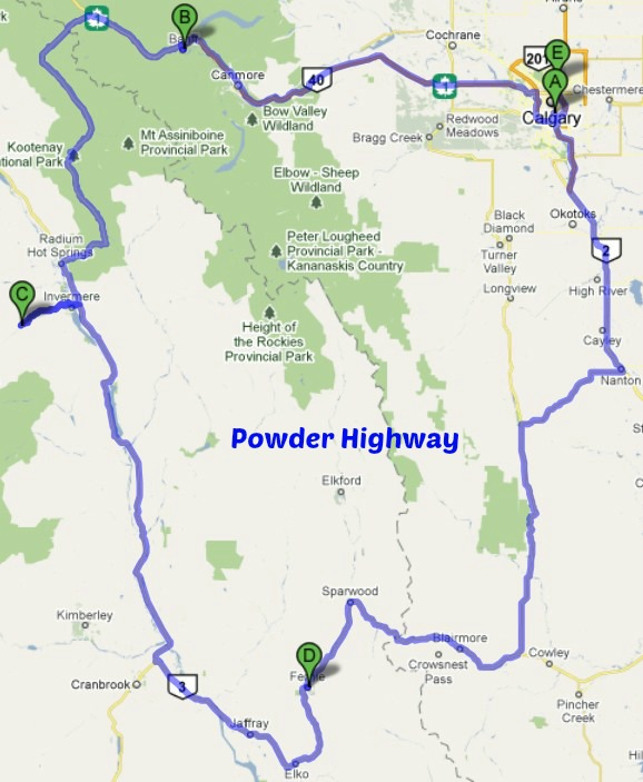 powder highway road map